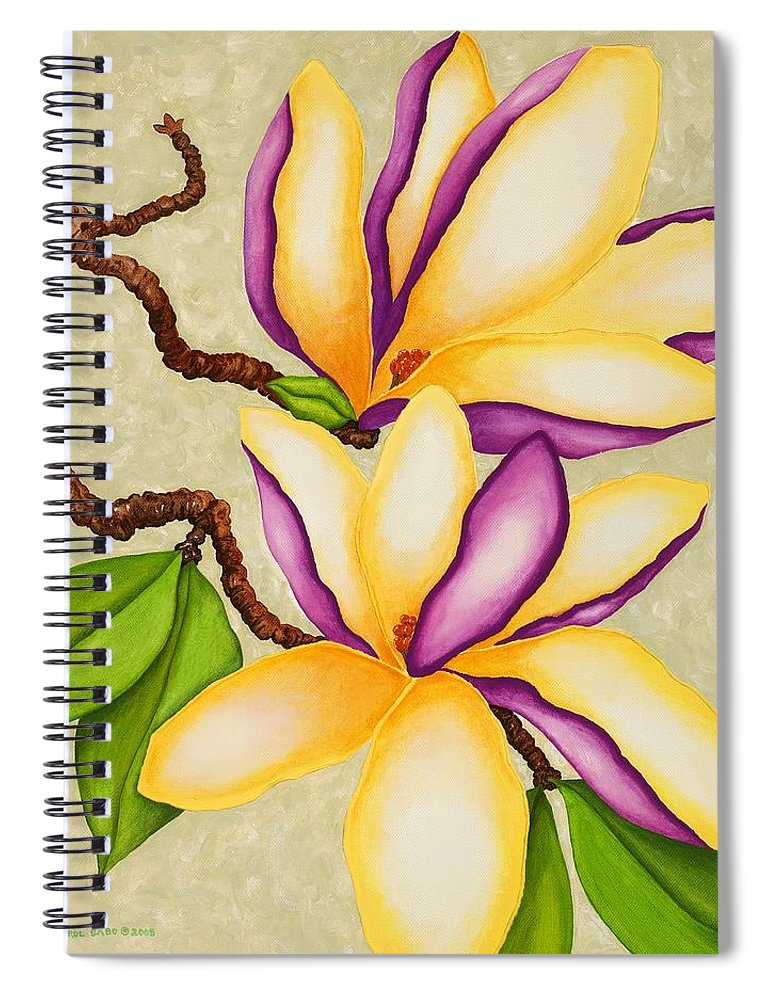 Two Magnolias Spiral Notebook featuring the painting Magnolias by Carol Sabo