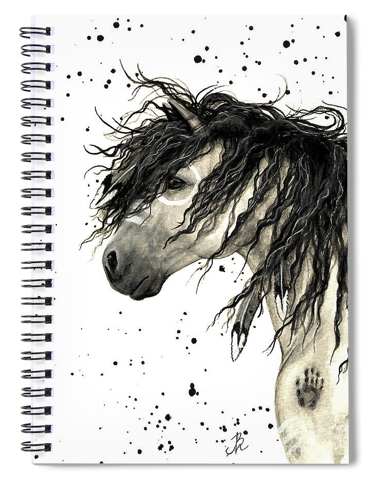 Mustang Horse Art Spiral Notebook featuring the painting Majestic Grey Spirit Horse #44 by AmyLyn Bihrle