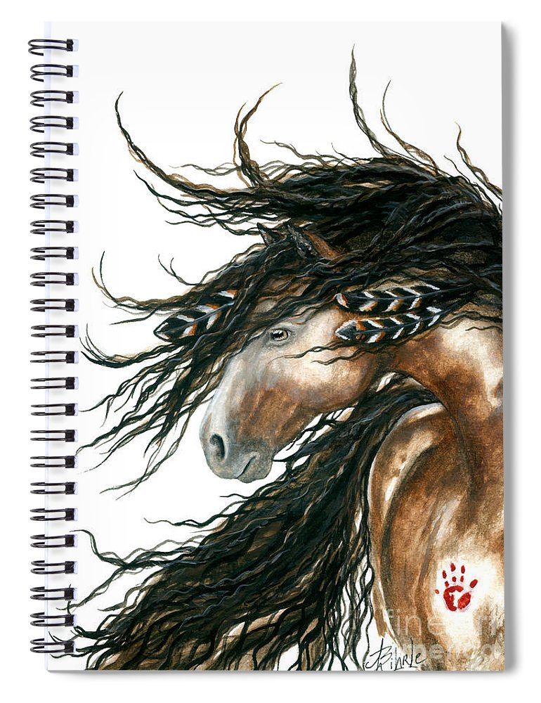 Horse Spiral Notebook featuring the painting Majestic Pinto Horse 80 by AmyLyn Bihrle