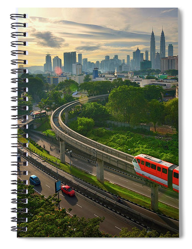 Train Spiral Notebook featuring the photograph Malaysia - Kuala Lumpur City by By Toonman
