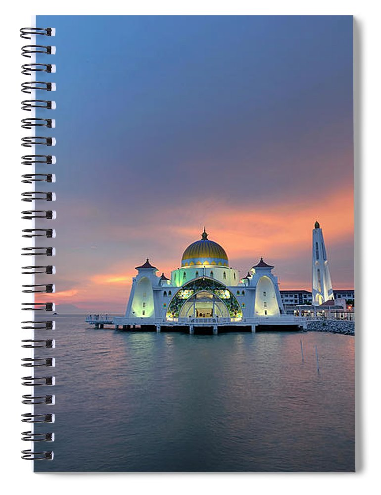 Mosque Spiral Notebook featuring the photograph Malaysia - The Straits Mosque, Malacca by By Toonman