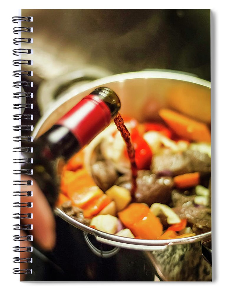 Mature Adult Spiral Notebook featuring the photograph Man Pouring Wine Into Vegetables by Manuel Sulzer