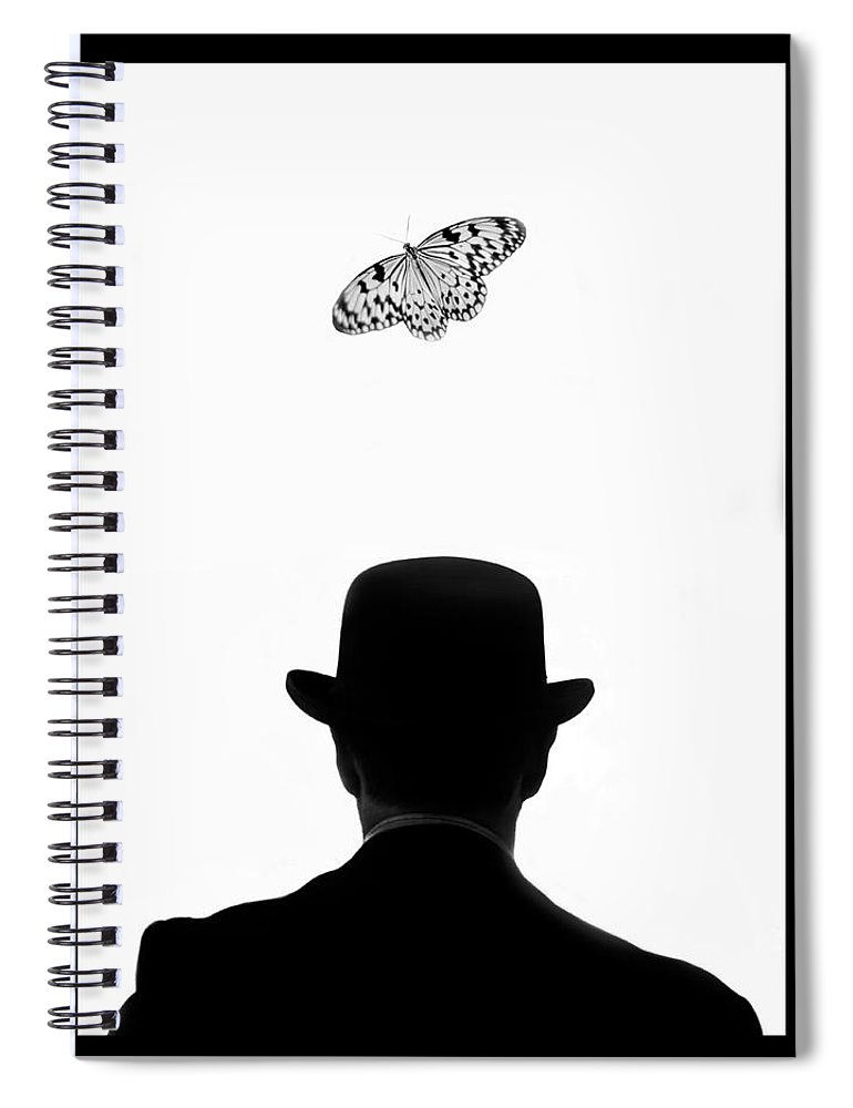 Mature Adult Spiral Notebook featuring the photograph Man Standing Under Butterfly by Grant Faint