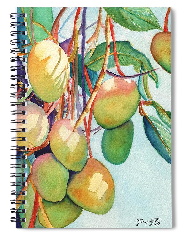 Mango Spiral Notebook featuring the painting Mangoes by Marionette Taboniar