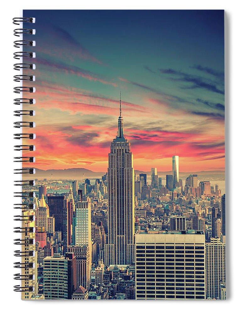 Panoramic Spiral Notebook featuring the photograph Manhattan by Zsolt Hlinka