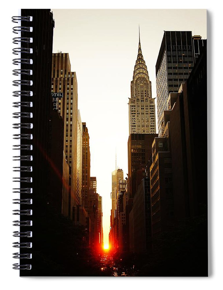 New York City Spiral Notebook featuring the photograph Manhattanhenge Sunset And The Chrysler Building by Vivienne Gucwa