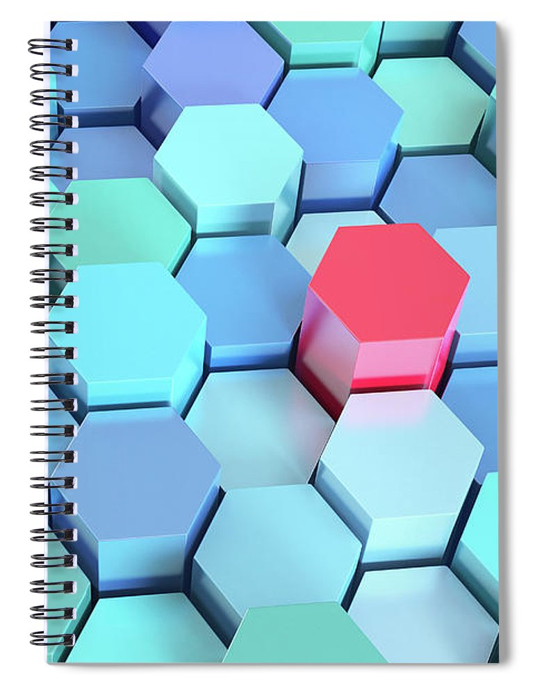 Grid Spiral Notebook featuring the photograph Many Blue Hexagons, Various Heights by Dimitri Otis
