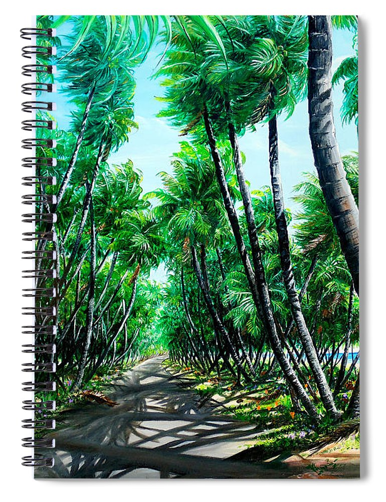 Coconut Trees Spiral Notebook featuring the painting Manzanilla Coconut Estate by Karin Dawn Kelshall- Best