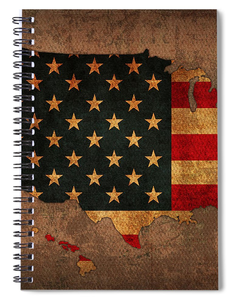Map Of America United States Usa With Flag Art On Distressed Worn Canvas Spiral Notebook featuring the mixed media Map Of America United States Usa With Flag Art On Distressed Worn Canvas by Design Turnpike