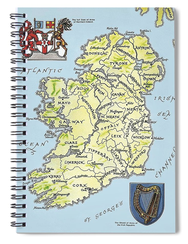 Coat Of Arms; Irish Spiral Notebook featuring the painting Map of Ireland by English School