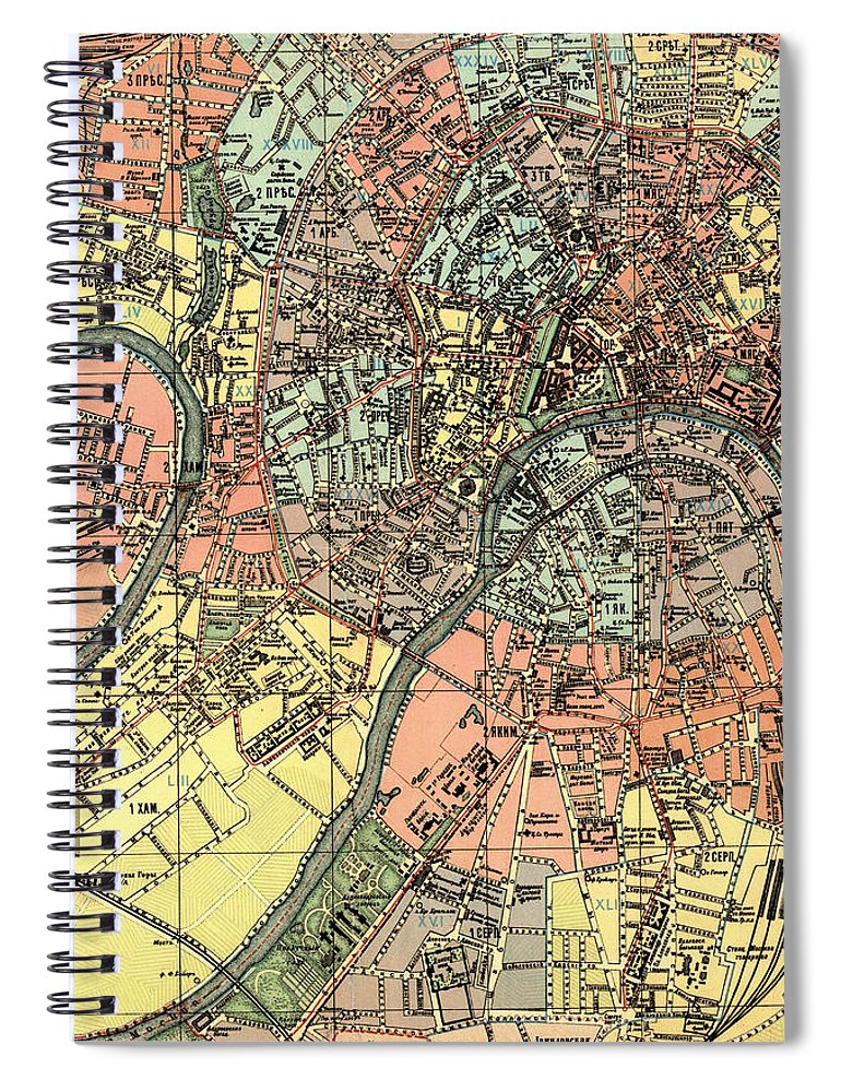Map Of Russia In Russian.Map Of Moscow Russia In Russian 1917 Spiral Notebook For Sale By