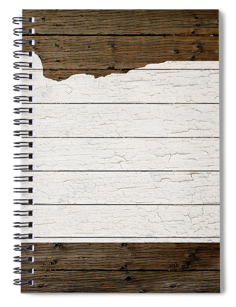 Map Of Oregon State Outline White Distressed Paint On Reclaimed Wood Planks  Spiral Notebook