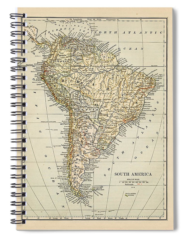 Burnt Spiral Notebook featuring the photograph Map Of South America 1875 by Thepalmer