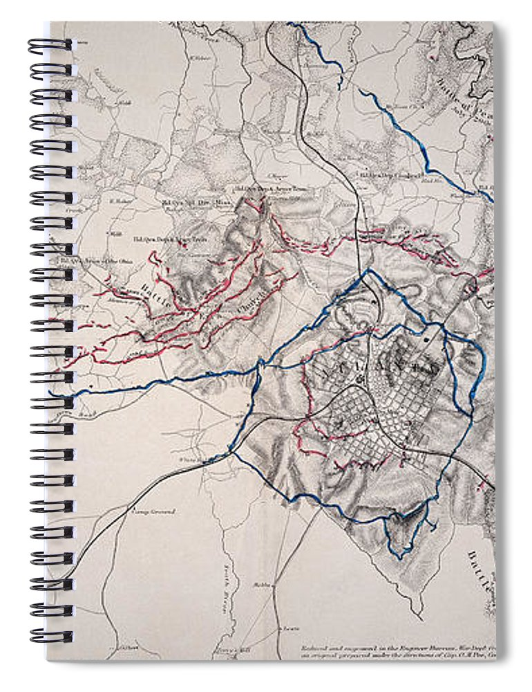 1864 Spiral Notebook featuring the photograph Map: Siege Of Atlanta 1864 by Granger