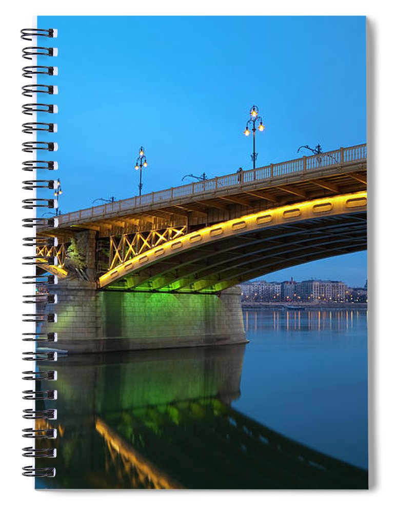 Town Spiral Notebook featuring the photograph Margaret Bridge And The Parliament by Focusstock