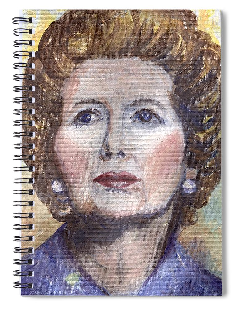 Margaret Thatcher Spiral Notebook featuring the painting Margaret Thatcher Two by Linda Mears