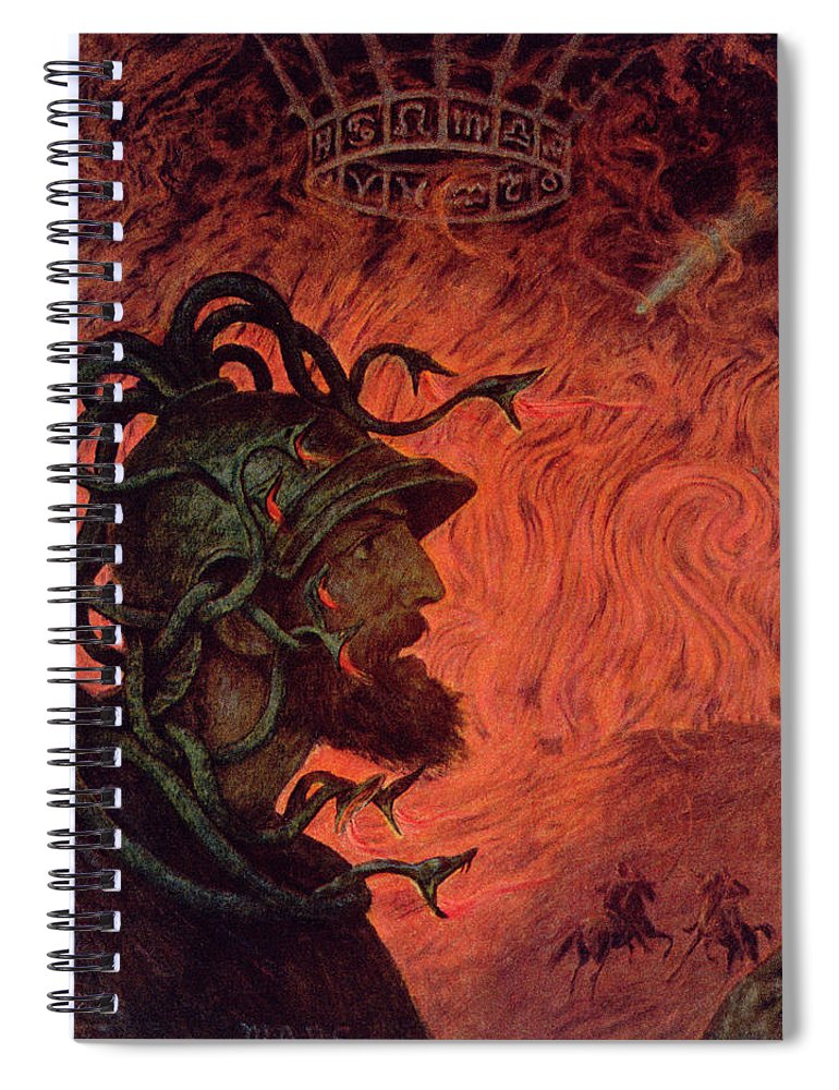 God Of War Spiral Notebook featuring the painting Mars by Hans Thoma