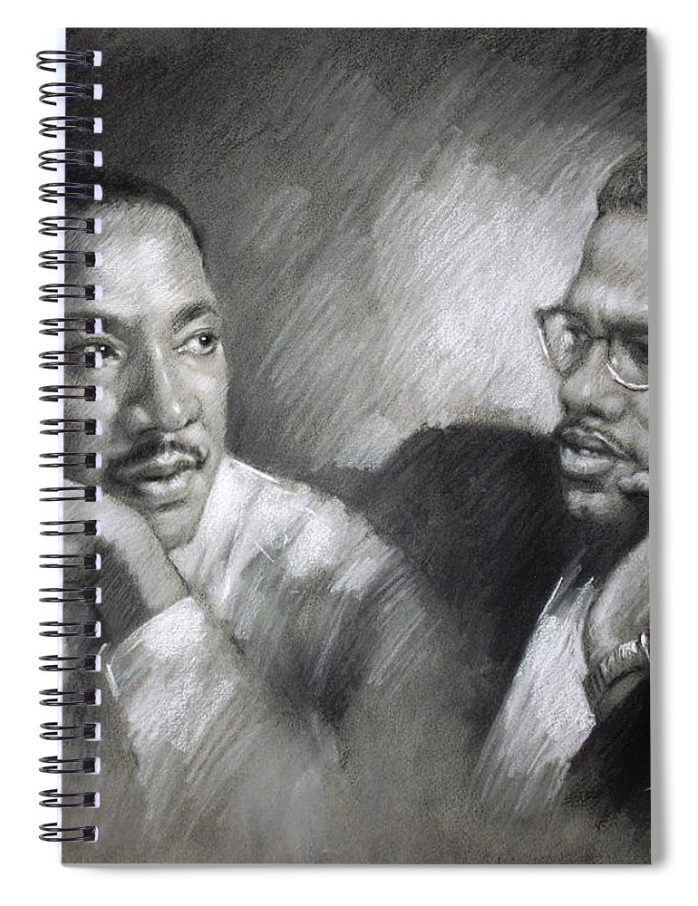 Malcolm X Spiral Notebook featuring the drawing Martin Luther King Jr and Malcolm X by Ylli Haruni