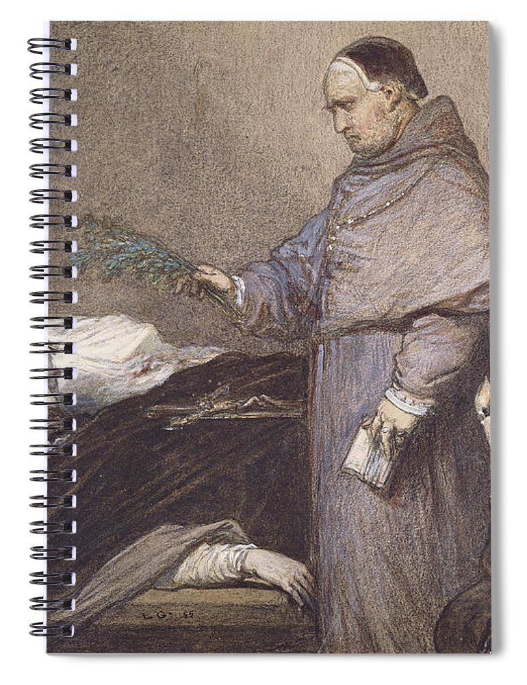Martin Rithone Spiral Notebook featuring the photograph Martin Rithone Blessing The Body Of The Count Of Egmont Wc On Paper by Louis Gallait