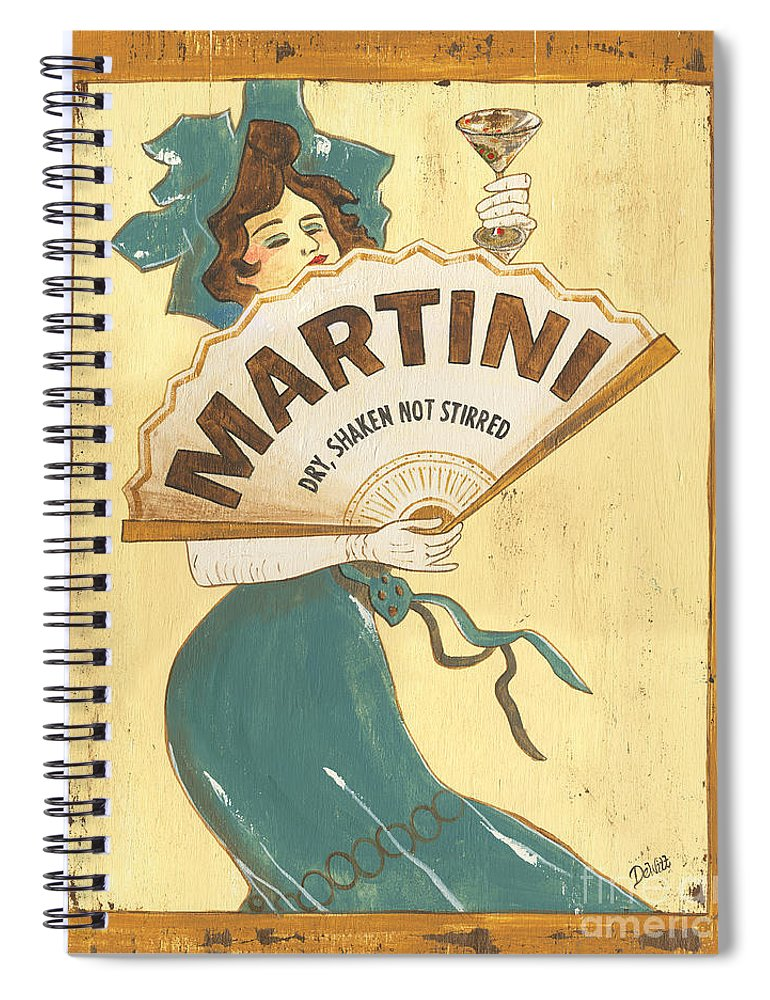 Martini Spiral Notebook featuring the painting Martini Dry by Debbie DeWitt