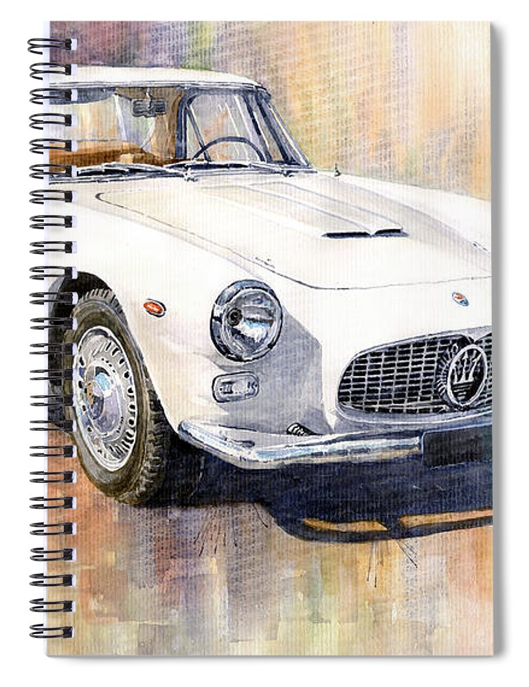 Automotive Spiral Notebook featuring the painting Maserati 3500gt Coupe by Yuriy Shevchuk