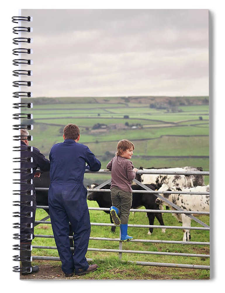 Mature Adult Spiral Notebook featuring the photograph Mature Farmer, Adult Son And Grandson by Monty Rakusen