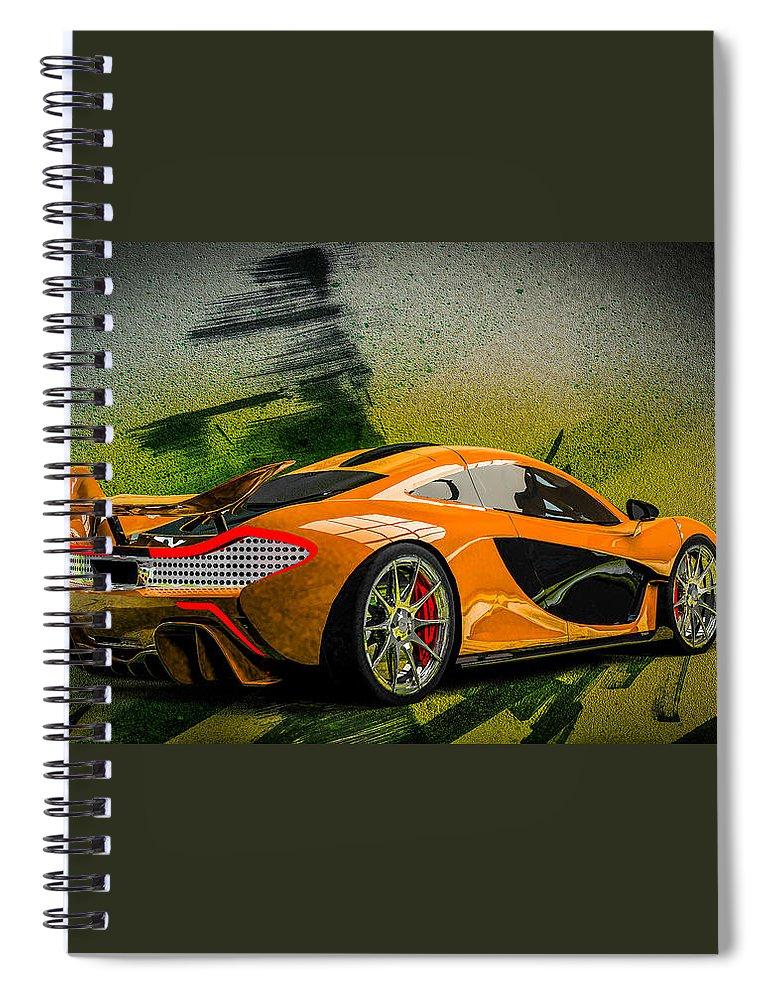 Mclaren P1 Spiral Notebook featuring the digital art McLaren P1 by Louis Ferreira