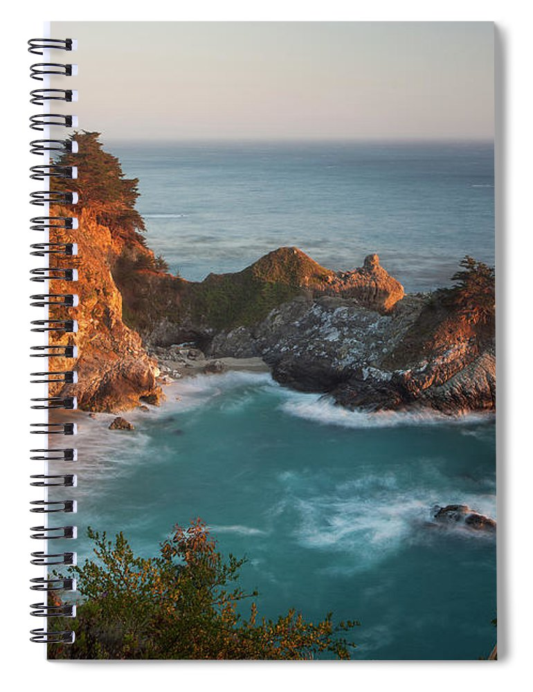 Scenics Spiral Notebook featuring the photograph Mcway Falls At Sunset by Sean Duan