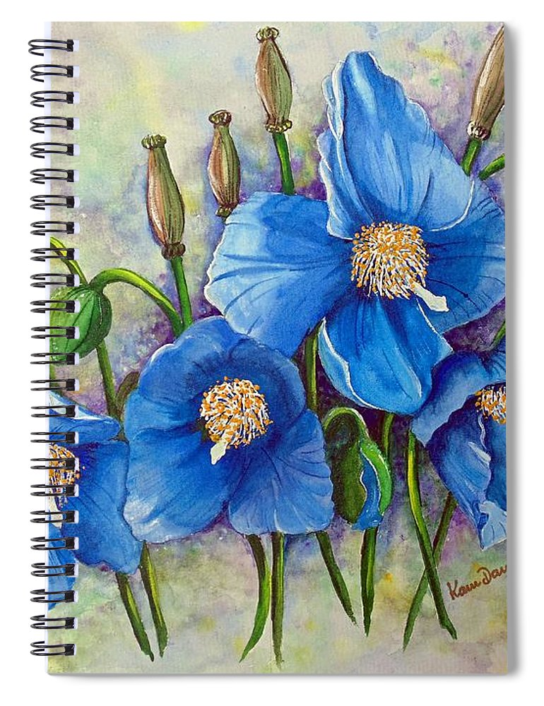 Blue Hymalayan Poppy Spiral Notebook featuring the painting MECONOPSIS  Himalayan Blue Poppy by Karin Dawn Kelshall- Best