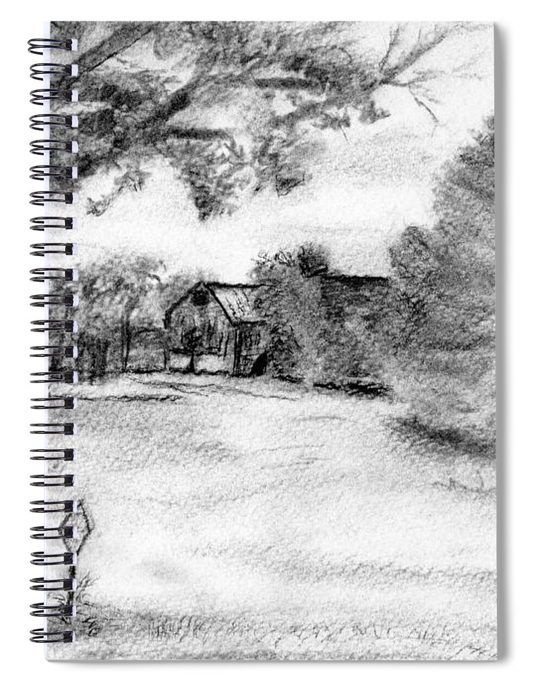 Farm Spiral Notebook featuring the drawing Medford Farm by Sheila Mashaw