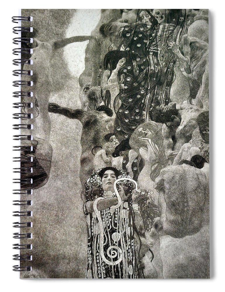 Gustav Klimt Spiral Notebook featuring the painting Medicine by Gustav Klimt