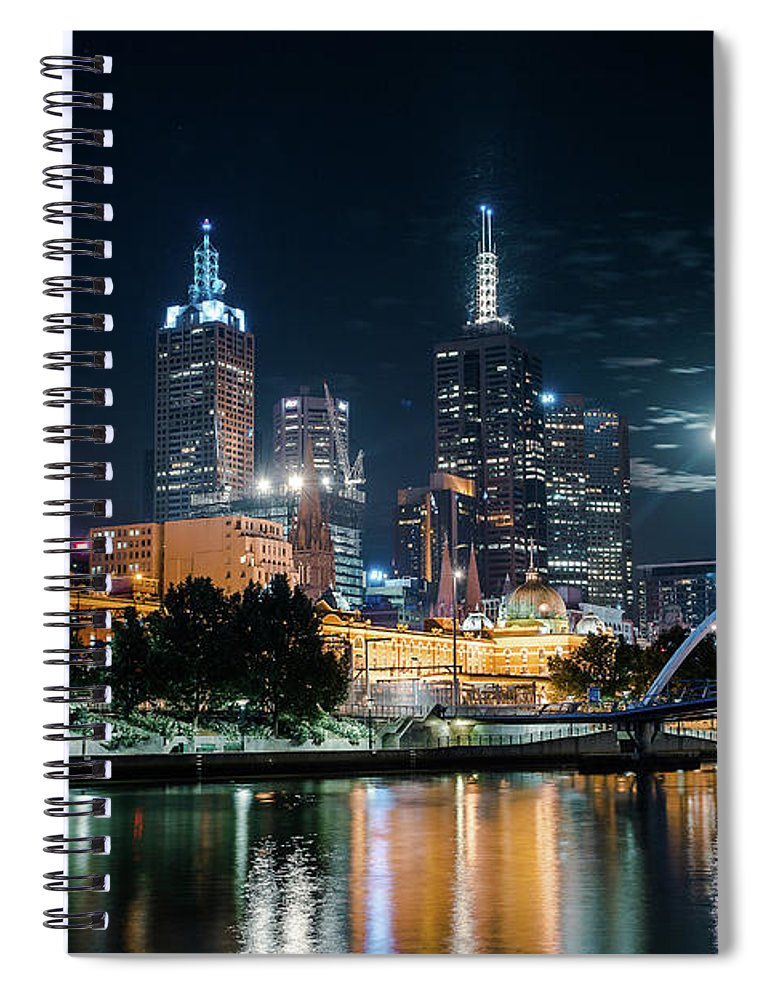 Clock Tower Spiral Notebook featuring the photograph Melbourne In Night by Kenji Lau