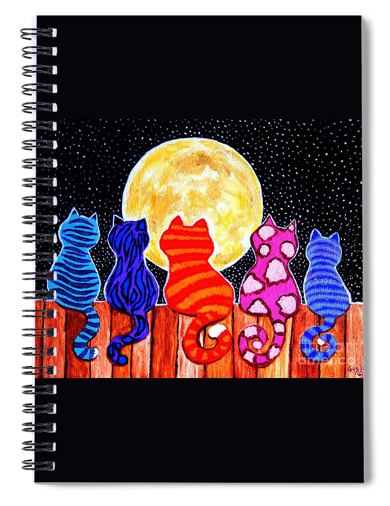 Cats Spiral Notebook featuring the painting Meowing At Midnight by Nick Gustafson