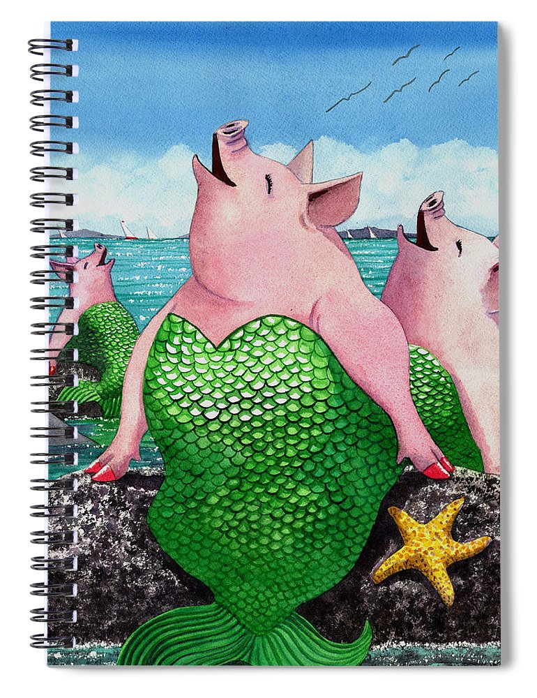 Mermaid Spiral Notebook featuring the painting Merpigs by Catherine G McElroy