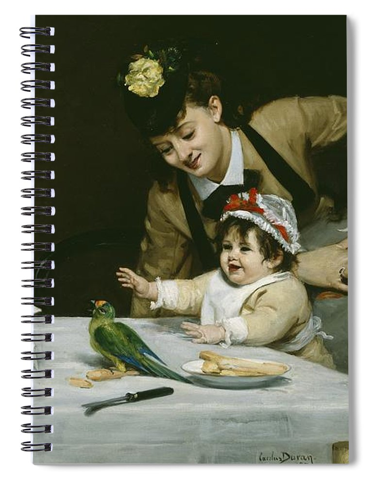 Merrymakers Spiral Notebook featuring the painting Merrymakers by Charles Emile Auguste Carolus-Duran