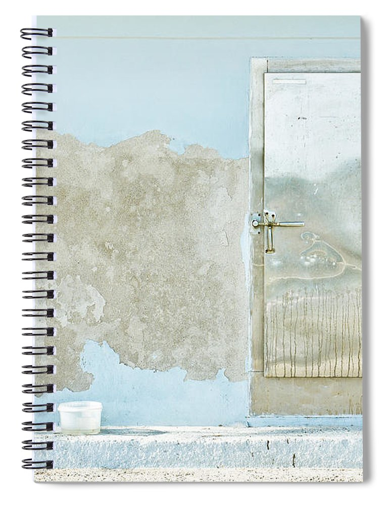Architectural Spiral Notebook featuring the photograph Metal Door by Tom Gowanlock