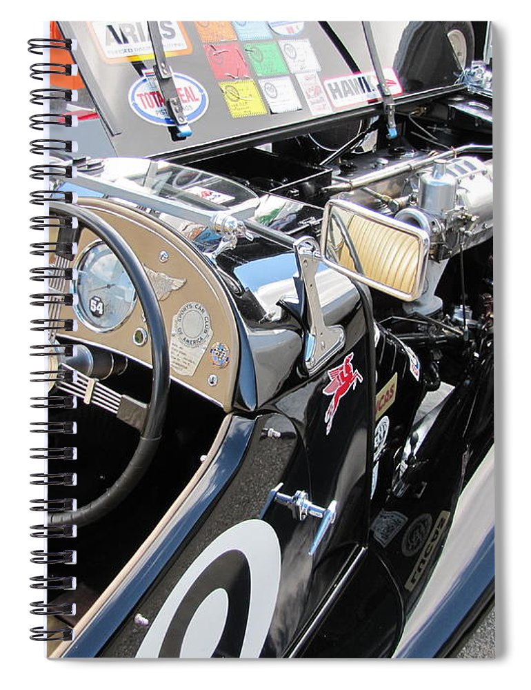 Racer Spiral Notebook featuring the photograph Mg Tc In Paddock by Neil Zimmerman