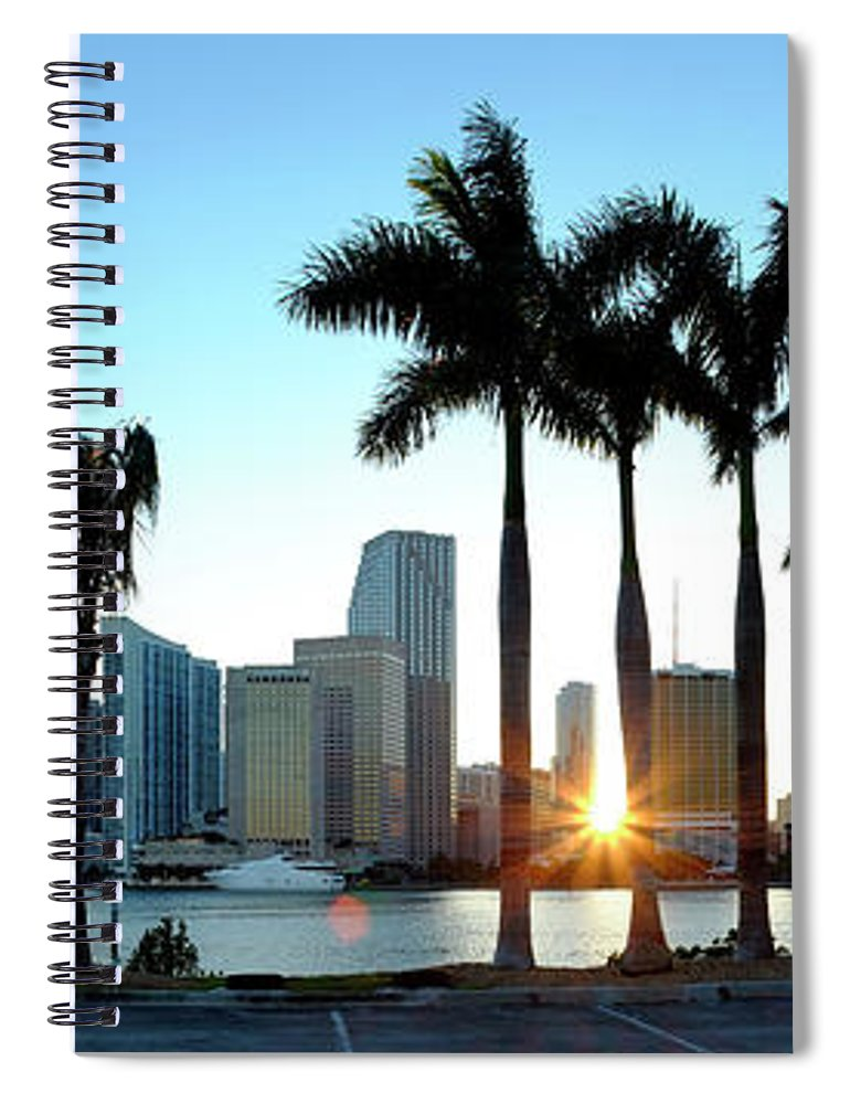 Downtown District Spiral Notebook featuring the photograph Miami Skyline Viewed Over Marina by Travelpix Ltd