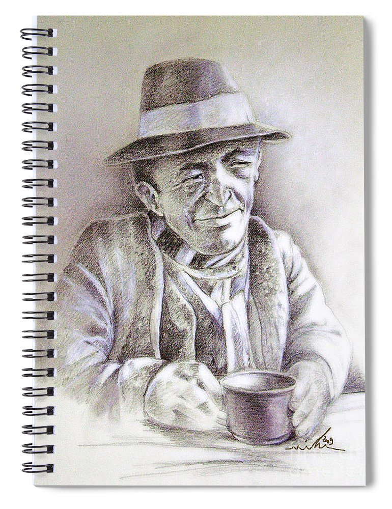 Portrait Michael Anderson Spiral Notebook featuring the painting Michael J Anderson by Miki De Goodaboom