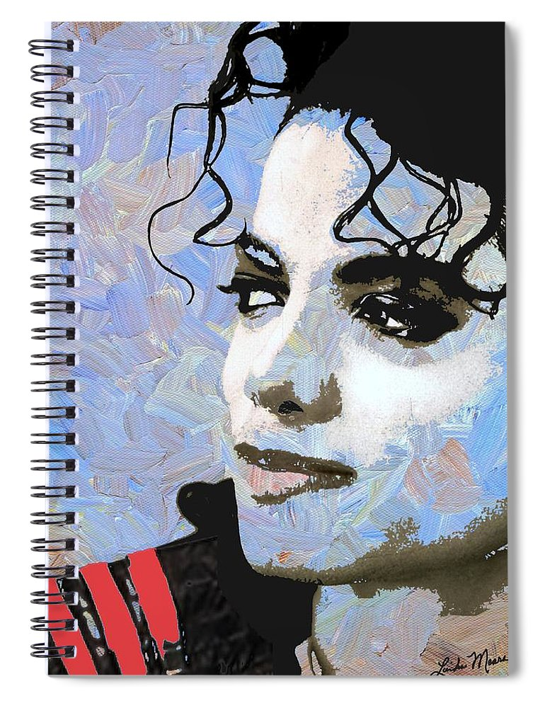Michael Jackson Spiral Notebook featuring the digital art Michael Jackson Blue And White by Linda Mears