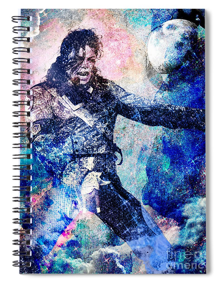 Rock Spiral Notebook featuring the painting Michael Jackson Original Painting by Ryan Rock Artist