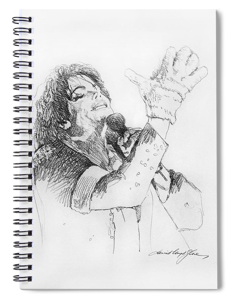 Michael Jackson Spiral Notebook featuring the painting Michael Jackson Passion Sketch by David Lloyd Glover
