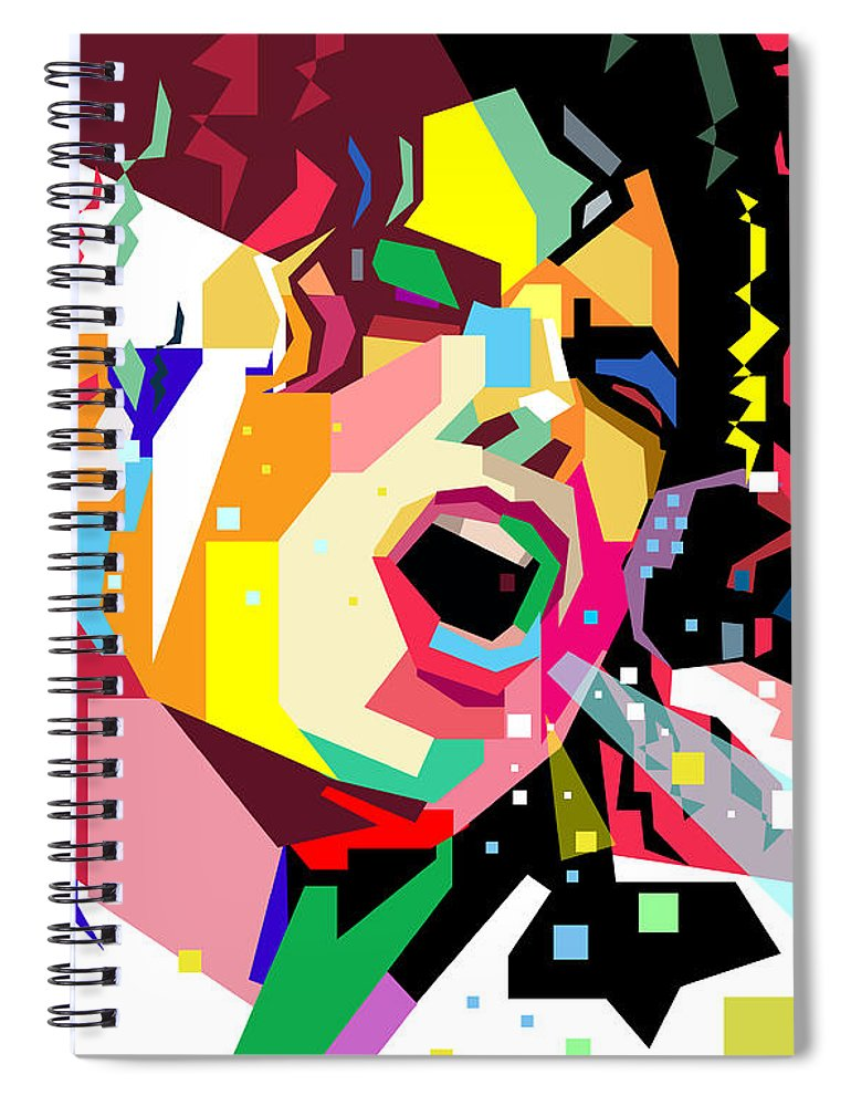 Singing Spiral Notebook featuring the digital art Michael Jackson singing on WPAP by Ahmad Nusyirwan