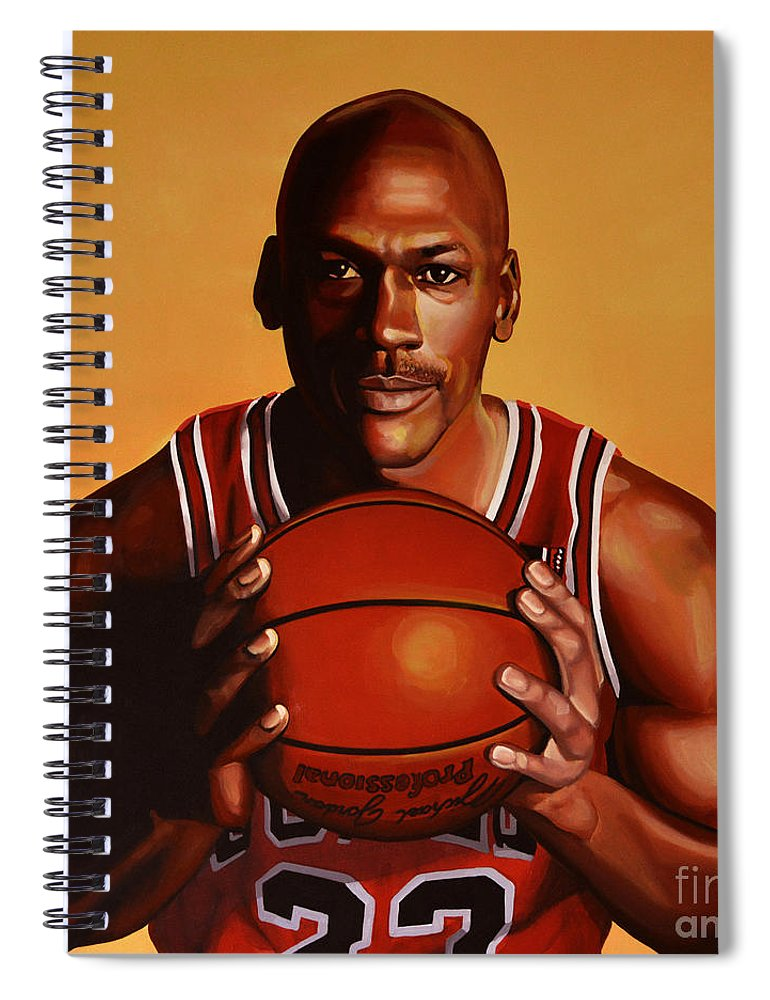 Michael Jordan Spiral Notebook featuring the painting Michael Jordan 2 by Paul Meijering