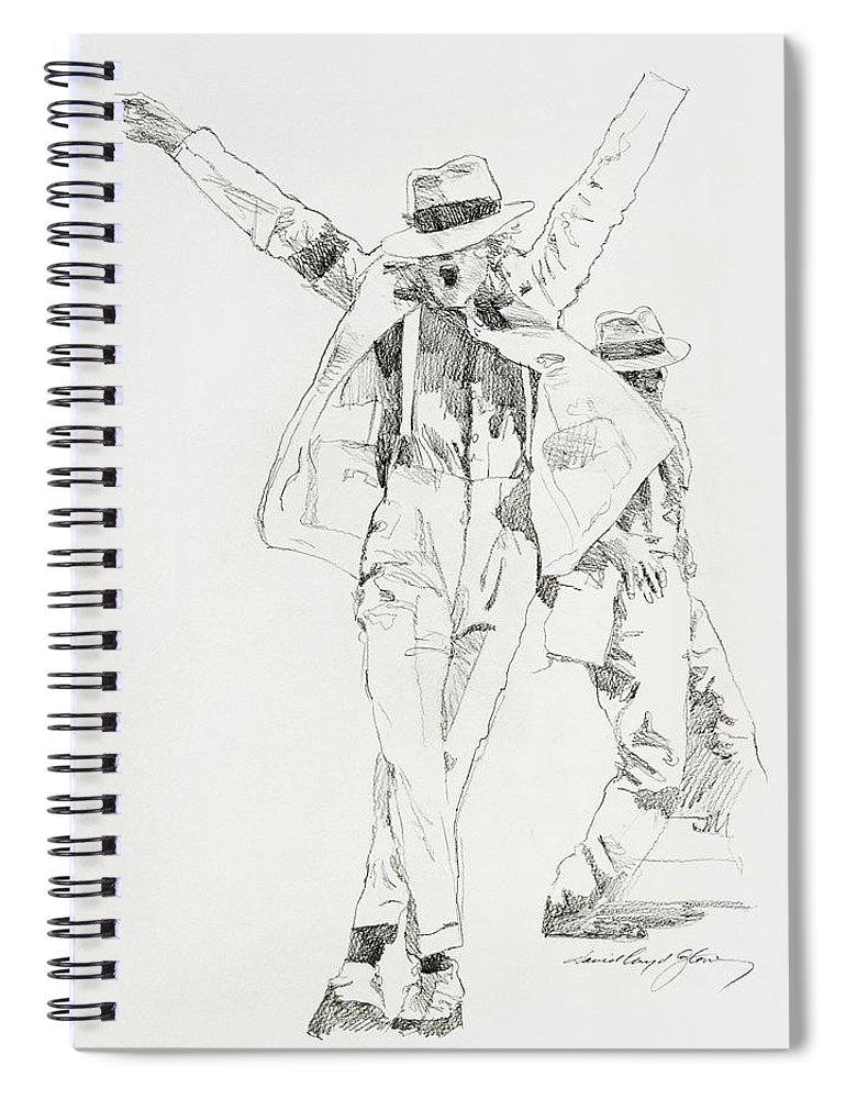 Michael Jackson Spiral Notebook featuring the drawing Michael Smooth Criminal by David Lloyd Glover