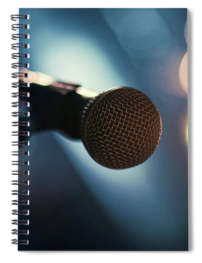 Microphone Stand Spiral Notebook featuring the photograph Microphone Abstract Close Up In Concert by Alexandre Moreau