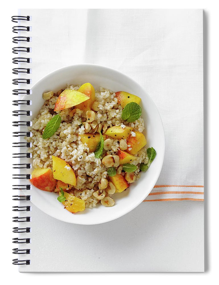Temptation Spiral Notebook featuring the photograph Minted Bulgur And Peach Salad by Iain Bagwell