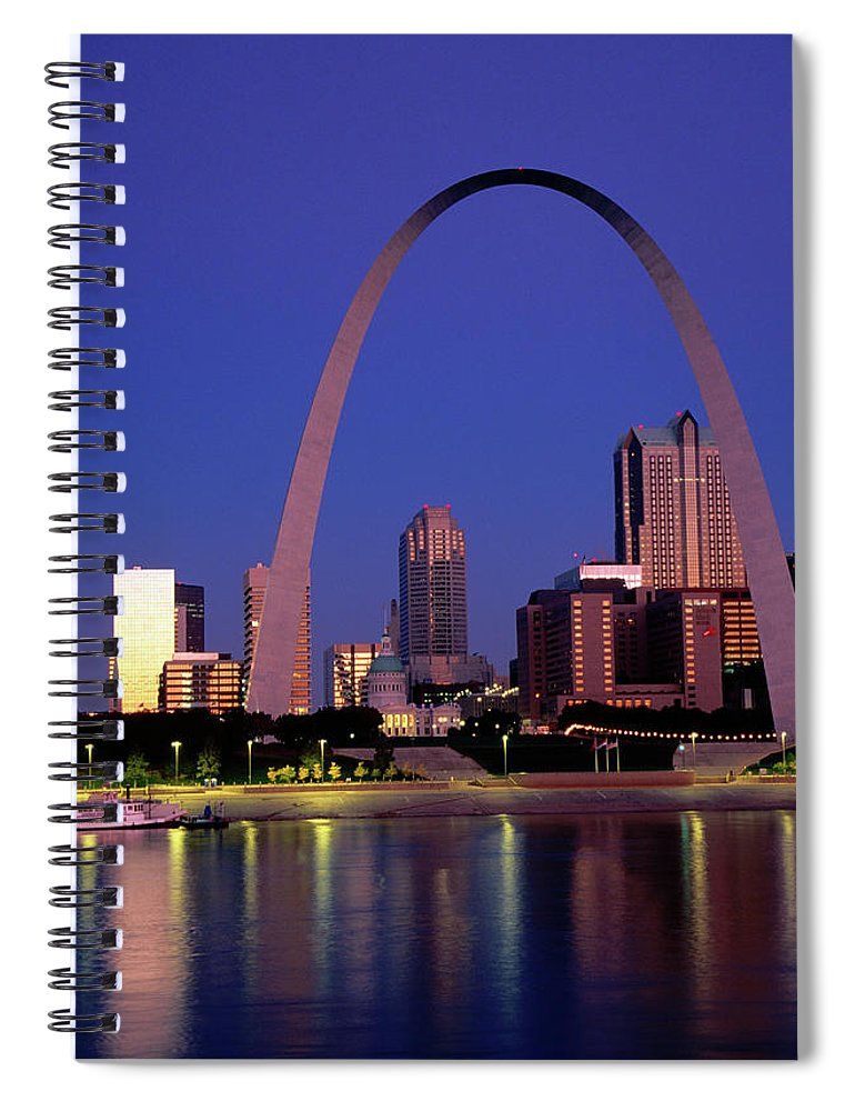 Arch Spiral Notebook featuring the photograph Mississippi River And Gateway Arch At by John Elk