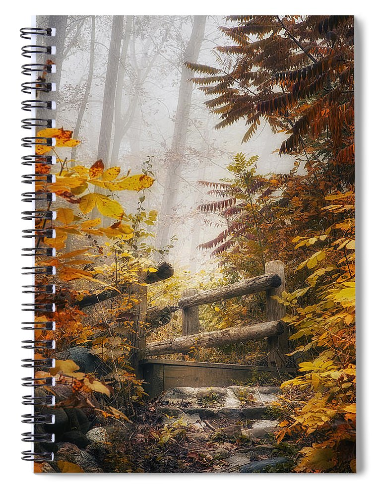 Bridge Spiral Notebook featuring the photograph Misty Footbridge by Scott Norris