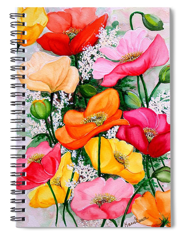Poppies Spiral Notebook featuring the painting Mixed Poppies by Karin Dawn Kelshall- Best